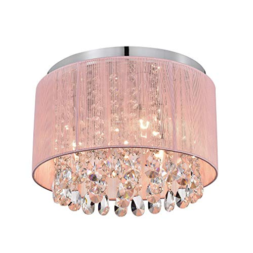 Pink Chandelier Drum Flush Mount Chandelier Crystal Ceiling Light Fixture 3 Light Bedroom Chandelier