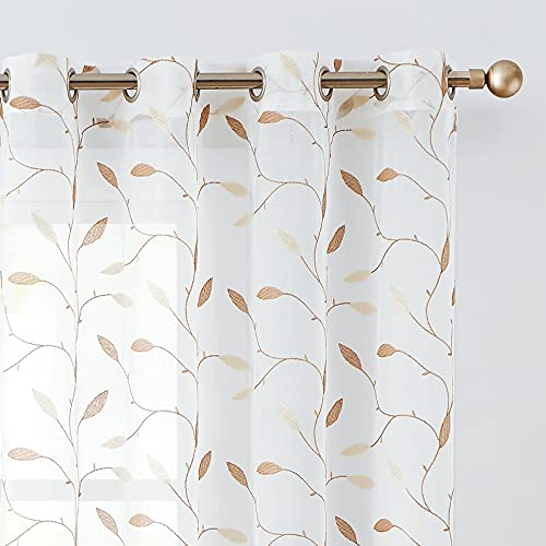 Lazzzy Embroidered Sheer Curtains for Living Room Bedroom Grommet Top Floral Leaf Voile Curtain Semi White Sheer Drapes 84 Inches Length 2 Panels Set Gold on White