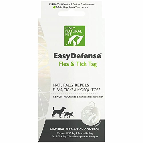 Only Natural Pet Easydefense Flea and Tick Control Collar Tag for Dogs and Cats - Natural Active Ingredients for Prevention, Control & Enhanced Defense