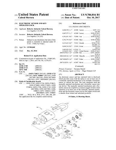Electronic sensor and key operated lock: United States Patent9784016 (English Edition)