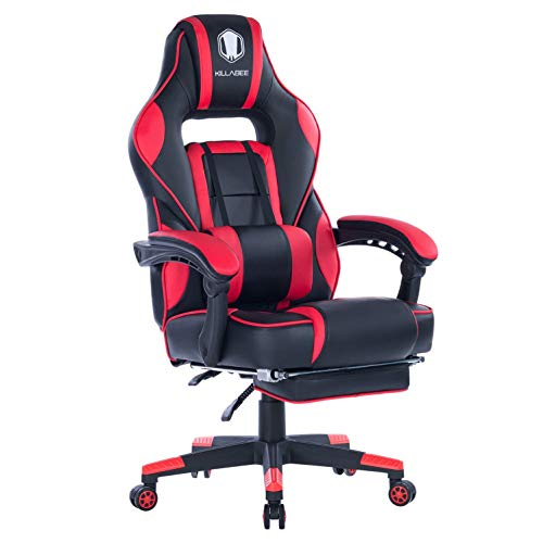KILLABEE High Back PU Leather PC Racing Computer Desk Office Swivel Recliner with Retractable Footrest and Adjustable Lumbar Support, Red/Black