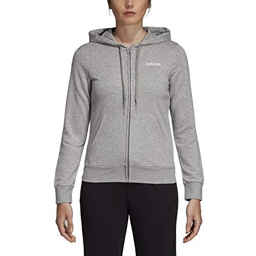 adidas Essentials Solid Full Zip Hoodie, Felpa con Cappuccio Donna, Medium Grey Heather/Bianco, XS 36-38
