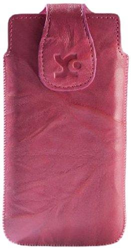 Suncase Echt Ledertasche für das Huawei Ascend G525 Dual-Sim in wash-pink