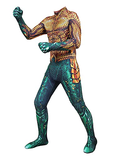 NVHAIM Traje de superhéroe Cosplay, Aquaman Onesies Body -uit Game Cosplay Niños Traje de Rendimiento Halloween Sumpsuits (Dorado),Kids S