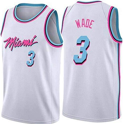 SHR-GCHAO Jerseys De Hombre, Miami Heat # 3 Dwyane Tyrone Wade NBA Basketball Jerseys, Ocio Quick Seco Malla Transpirable Sin Mangas Sports Chalk Shirt,Blanco,L(175~180cm)