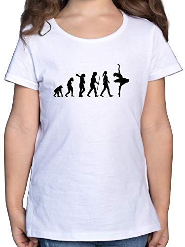 Evolution Kind - Evolution Ballett - 164 (14/15 Jahre) - Weiß - Ballett Shirt - F131K - Mädchen Kinder T-Shirt