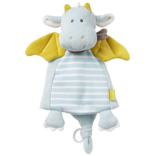 Fehn 065077 Schmusetuch Drache Deluxe – Schnuffeltuch mit Befestigungsring für Schnuller – Zum Kuscheln für Babys ab 0+ Monaten – Maße: 30 cm