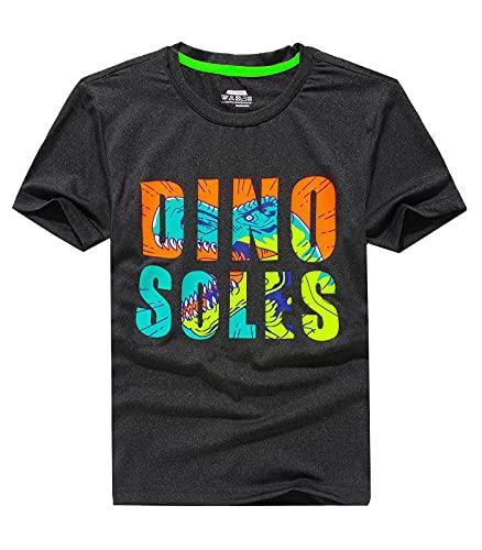 YOUNGSOU Jungen T-Shirt Dinosaurier Kinder Kurzarm Tshirt Sommer Tops Casual Tee Shirt Schwarz DE:164-170 (Herstellergröße 170)