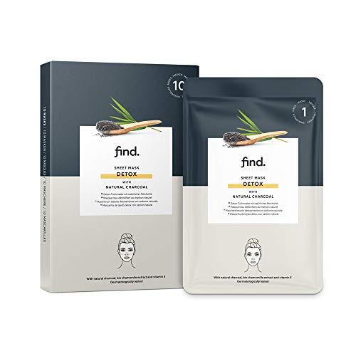 Amazon-Marke: find. Detox-Gesichtsmaske, Sheet Mask mit natürlicher Aktivkohle, 10Stück