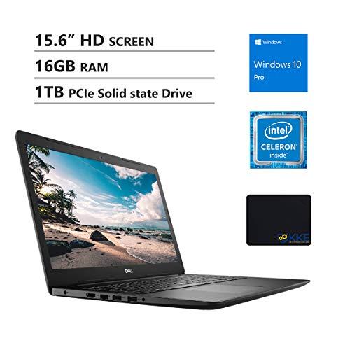 "Dell Inspiron 15.6"" HD Business Laptop, Intel 4205U, 16GB RAM, 1TB PCIe SSD, DVD Drive, Wireless AC, KKE Mousepad, Bluetooth, Win10 Pro, Black"