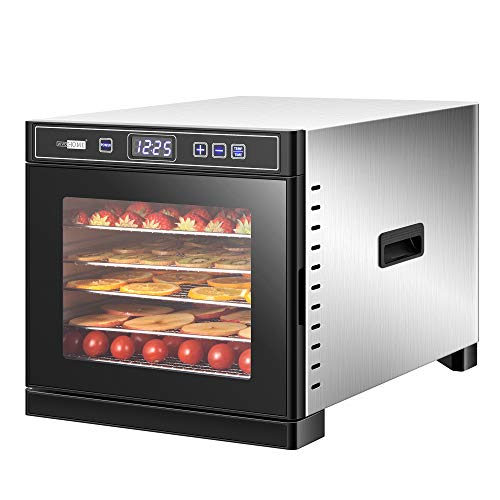 VIVOHOME Stainless Steel Electric 600W 6 Trays Commercial Food Dehydrator Machine with Digital Timer and Temperature Control for Fruit Vegetable Meat Beef Jerky Maker