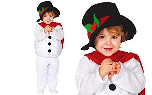 GUIRMA 42534 - Disfraz de muñeco de nieve para niños de 1 a 2 años, color blanco