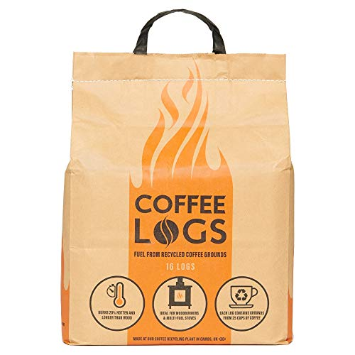 bio-bean Coffee Logs - Eco-Friendly Fire Logs for Wood Burners and Multi-Fuel Stoves (16 logs), Brown