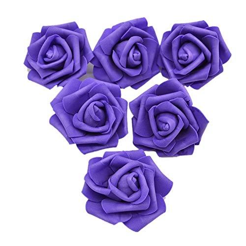 CHJUF Fiore Artificiale 20pcs 6cm Abbastanza Rose Gomma Piuma del PE Testa di Fiore Artificiale for Il Regalo Sfera Wedding Bouquet Fai da Te Ghirlanda di Fiori Casella della Decorazione della casa