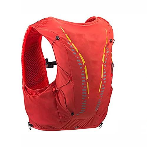 FLZXSQC Mochila de campo traviesa, ultraligera para correr, senderismo, montañismo al aire libre, mochila deportiva, con dos botellas de agua suave de 450 ml, naranja rojo, código S