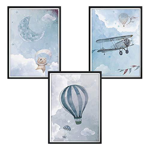 Juego de 3 pósteres DIN A4 para habitación infantil y marcos de fotos, pósteres para niños, imágenes para habitación de bebé, imágenes para bebés, decoración para habitación infantil Watercolo