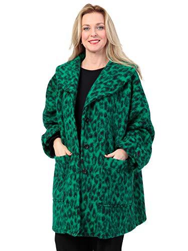 AKH FASHION Kurzmantel Wolle Damen Animal Print Leo, Oversize Jacke Damen große Größen A-Linie, grün, XXL Mantel Damen gestreift