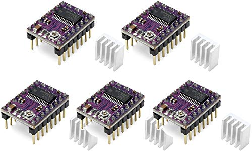 TECNOIOT 5pcs Stepstick DRV8825 Stepper Motor Driver Reprap RAMPS Replace A4988 | 5pcs DRV8825 Módulo de Controlador de Motor Paso a Paso de 5 Capas con Mini disipador de Calor para la Impresora 3D