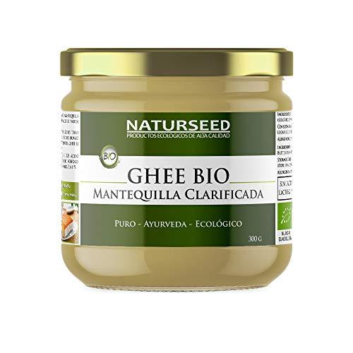 Naturseed Ghee Organico - Ayurveda au beurre clarifié - Sans lactose - Vaches nourries exclusivement à partir de pâturages - Saveur sucrée - Recettes sans gluten - 250 ° (300gr)