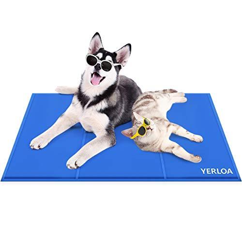 Yerloa Kylmatta för husdjur, hund självkylande matta kylmatta för hund hund kylmatta husdjur ismatta husdjursdyna för lådor, kennlar och sängar (90 x 50 cm (36 x 20 tum) och 96 cm x 81 cm (36 x 20 tum) (mitten)