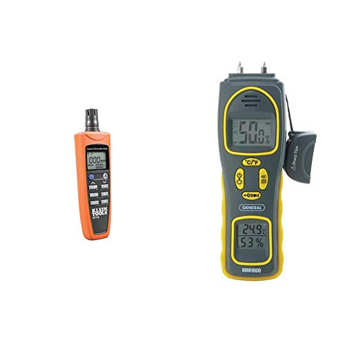 Klein Tools ET110 CO Meter with Exposure Limit Alarm, 4 x AAA Batteries and Carry Pouch Included & General Tools MMH800 4-in-1 Combo Moisture Meter, Pin Type or Pinless, Temperature and Humidity
