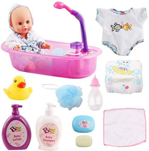 deAO Conjunto de Baño 13' Mi Primera Muñeca Bebé con Funciones de Agua Real Set Incluye Muñeca, Bañera, Accesorios y Albornoz