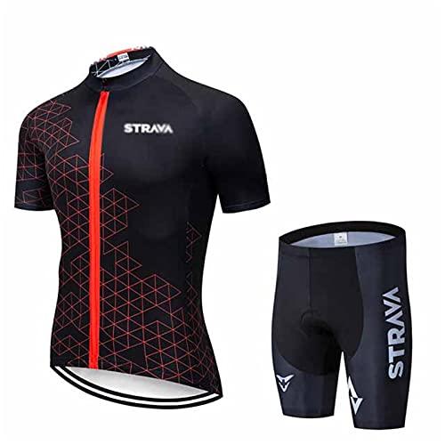 Jerseys De Ciclismo para Hombres Mangas Cortas Ropa De Bicicleta Transpirable Maillot Ciclismo Mangas Cortas Y Culotte Pantalones Cortos De Bicicleta con 3D Gel Acolchado (A2,XL)