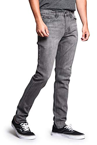 Victorious Men's Skinny Slim Fit Stretch Raw Denim Jeans DL1004 - Ash Grey - 30/30 - DNM