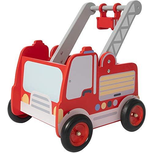 labebe Red Fire Truck Wooden Baby Push Walker - 2-in-1 Toddler Push & Pull Toys Learning Walker Stroller Walker with Wheels for Baby Girls Boys 1-3 Years Old
