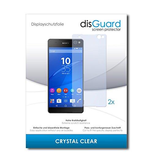 disGuard® Bildschirmschutzfolie [Crystal Clear] kompatibel mit Sony Xperia C5 Ultra [2 Stück] Kristallklar, Transparent, Unsichtbar, Extrem Kratzfest, Anti-Fingerabdruck - Panzerglas Folie, Schutzfolie