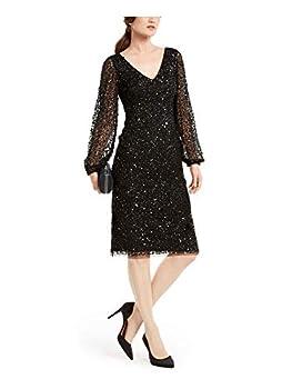 Adrianna Papell Women s Beaded Cocktail Dress Black 14