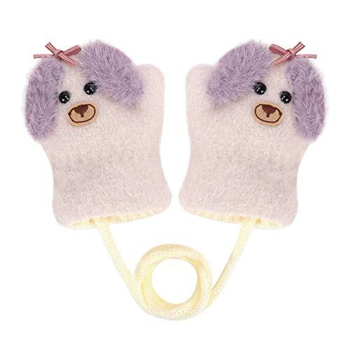 Niedlich Fuchs Handschuhe Doppelstrickwolle Kleinkinder Fäustlinge Verdickte Strickhandschuhe Winterhandschuhe Warme Handschuhe für 1-4 Jahre Kinder