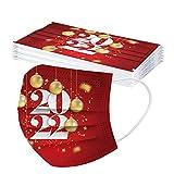 Longra 10 Stück 2022 Festivalmode Silvester Neujahr Mundschutz Erwachsene/Kinder Einweg Weihnachtsmaske Mundschutz Weihnachten Mund Nasenschutz Halstuch Maske Schals für Familie Nikolaustage
