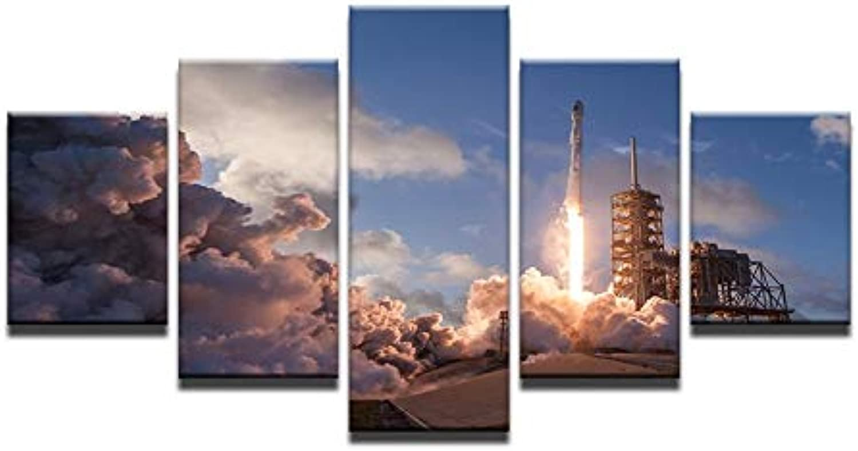 Print Canvas Painting Home Decor 5 Panels Missile Launch Site Landscape Poster Frame Wall Art Flame Emission Photos