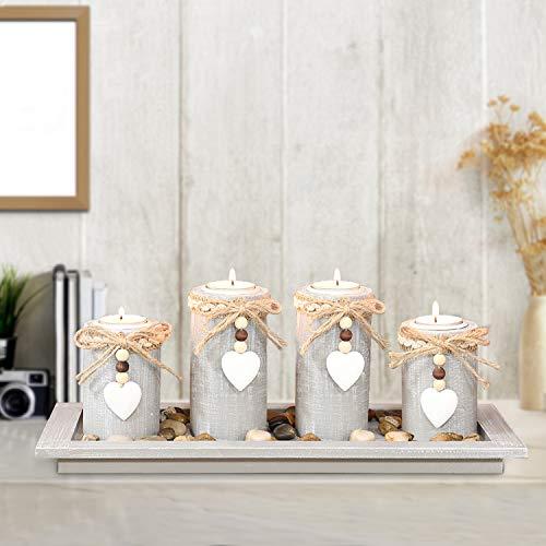GoMaihe Kerzenständer Teelichthalter 4 Stück Set Auf Holzpalette Legen, Kerzenleuchter Kerzenhalter Tischdeko Deko Wohnzimmer Schlafzimmer Balkon Badezimmer Weihnachten, Ohne Kerze.MEHRWEG