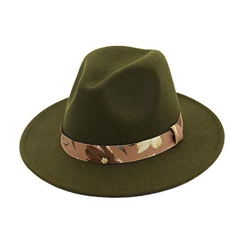 Cosanter Jazz-Kappe Tanz Filz Mütze Bankett Hüte für Damen Mädchen 56-58 cm Dunkelgrün