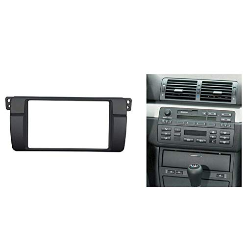 HUOGUOYIN Car Stereo Bluetooth 180 * 105 mm en Forma for el BMW Serie 3 E46 Doble DIN Fascia de DVD de Radio estéreo Marco de Montaje Panel Juego de Acabados de reinstalación