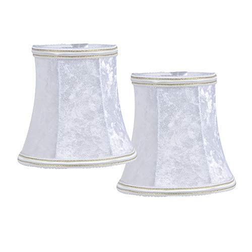 Candelabro DULEE - Juego de 2 pantallas para lámpara de pared (tela de franela), color blanco