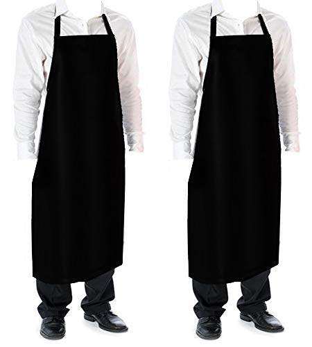 Cozy Home Glossy Smooth Vinyl Waterproof Aprons Durable Lightweight 42Hx26W Inch Long Black 2 pack