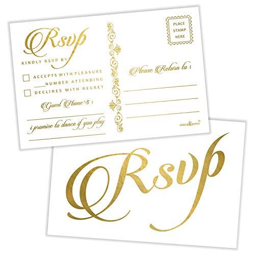 RSVP Postkarten (50 Stück), Goldfolienprägung mit Versandseite, 10,2 x 15,2 cm, Antwortkarten für alle Anlässe, versandbar, Weiß