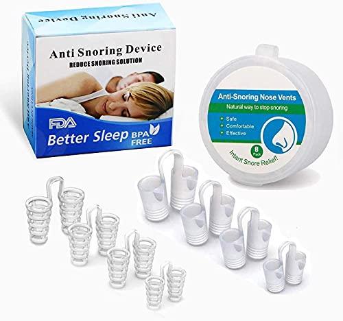 NUOE 8Sets Anti Schnarch Nasen Dilatator, 4 Größen Neuartige Nasenspreizer, Schnarchen Stopper Anti Schnarch anti snoring Nasenklammer Silikon