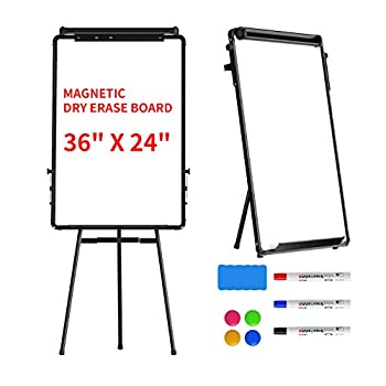 Stand White Board Magnetic Tripod Dry Erase Easel Board 36 x 24 Height Adjustable Portable Whiteboard Silver Aluminium Frame for Kids Students & Teachers