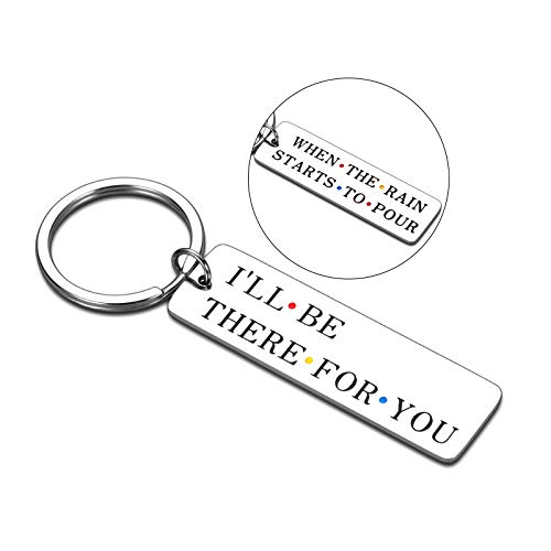 Best Friend Keychain Gifts for Women Men Friends TV Show Merchandise I'll Be There for You Keychain for BFF Couples Friendship Gifts Birthday Graduation Christmas Jewelry Double-Sided Keyring