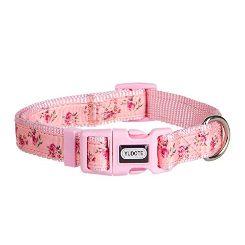 YUDOTE Adjustable Pink Nylon Dog Collar Small with Floral Patterned Ribbon for...