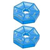 yqs Pastillero 2 unids/Set Caso de píldora de plástico 7 días Tableta Caramelo Caja portátil Almacenamiento portátil Organizador de Viajes píldoras dispensador contenedor (Color : 08)