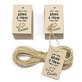 150 Etiquetas hecho a mano pequeñas, en Español, con Cuerda yute, 60x35 mm pequeñas, tarjetas colgantes con agujero, cartón 100% reciclado (handmade with love)