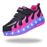 LWWOZL Zapatillas Niña con Ruedas, Zapatos con Dos Ruedas Automática Calzado de Skateboarding, Deportes de Exterior Patines en Línea Aire LibreBlack-38