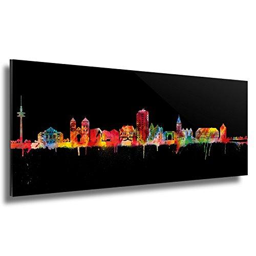 Kunstbruder Skyline Osnabrück - Acrylglas - Neon (div. Größen) - Kunst Druck auf Acrylglas 50x140cm