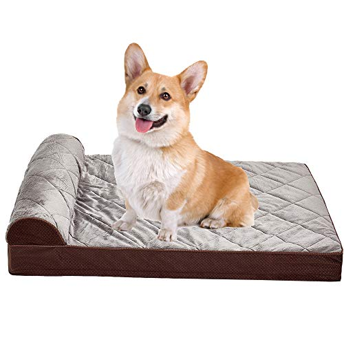Auboa Large Dog Bed for Small, Medium, Large Dogs/Cats Mat Two Styles Removable and Washable Cover, Orthopedic Memory Foam Crate Pad