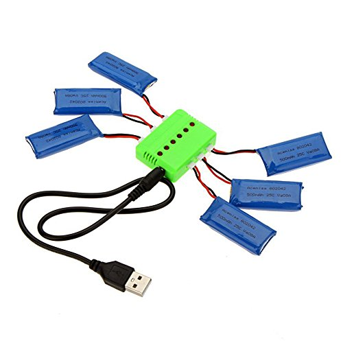 Rc Chargeur de batterie Set - SODIAL(R)Rc Chargeur de batterie Set pour Hubsan X4 H107(6x 3.7v 500mAh Batterie + 1x Chargeur )